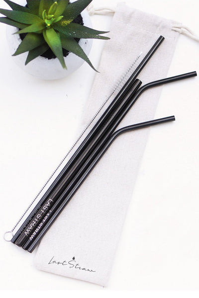 Black Zero Waste Metal Straw Set