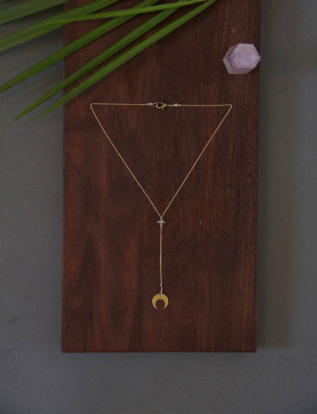 Crescent Moon Plunge Necklace