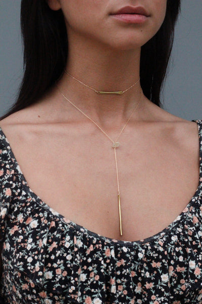Brass Bar Plunge Nacklace