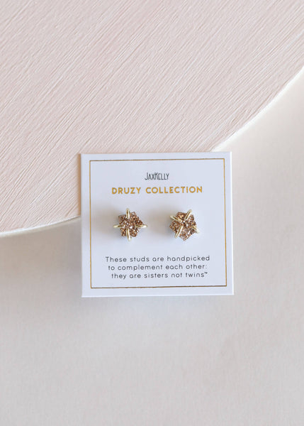 Rose Gold Druzy Crystal Earrings
