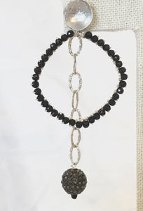 Black Stone and Silver Chain Earrings