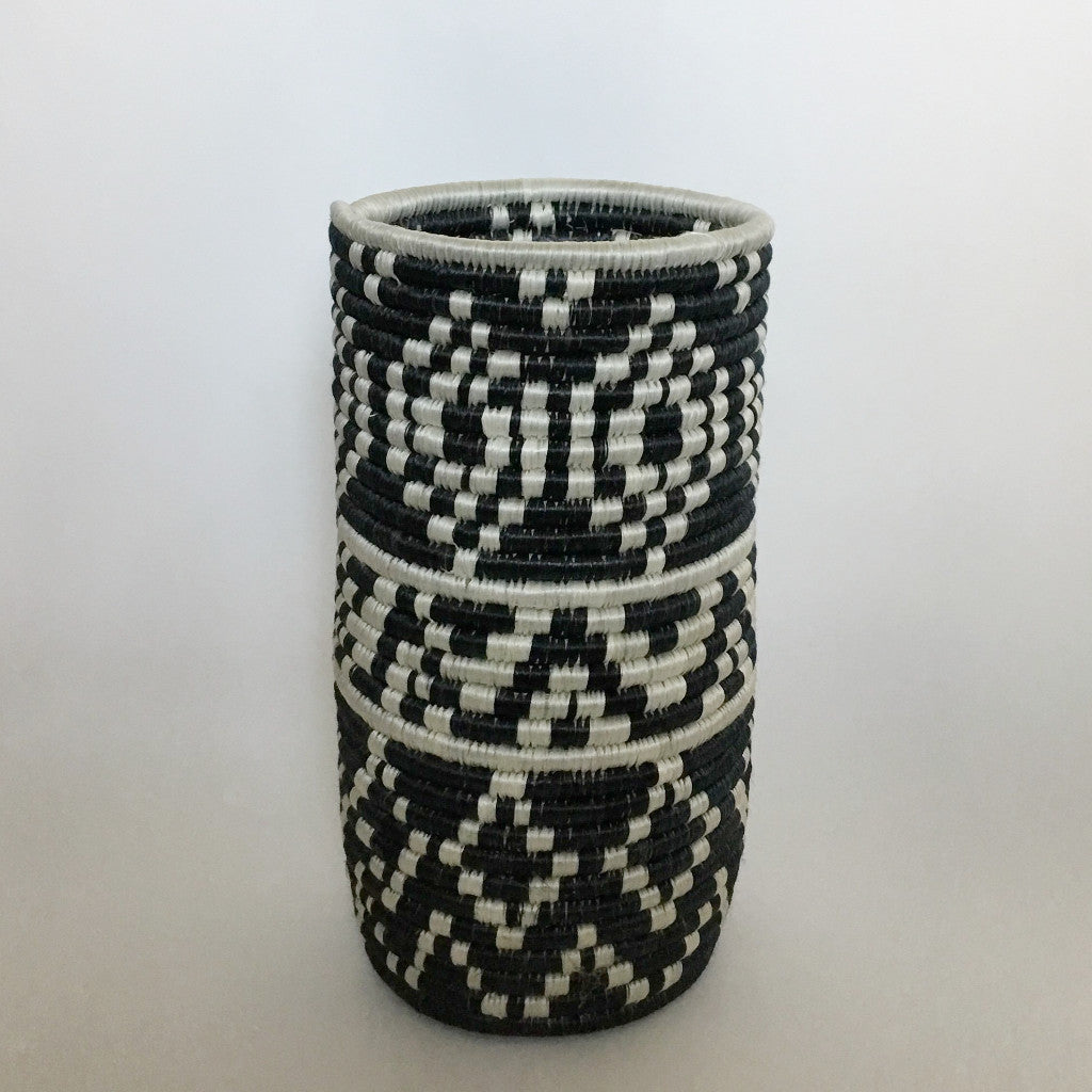 Charcoal and White Woven Vase