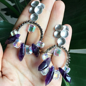 Vintage crystal and amethyst earrings