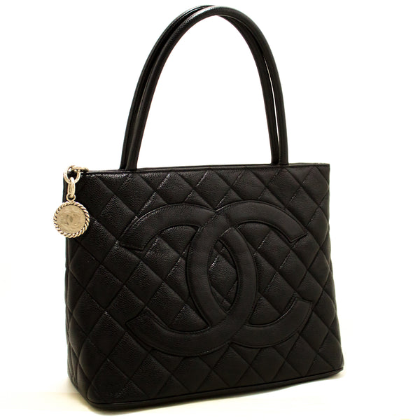 Chanel Black Quilted Caviar Medallion Tote (SHB-10133)