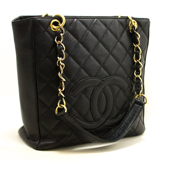 Chanel Black Quilted Caviar Petit Shopping Tote PST (SHB-10099)
