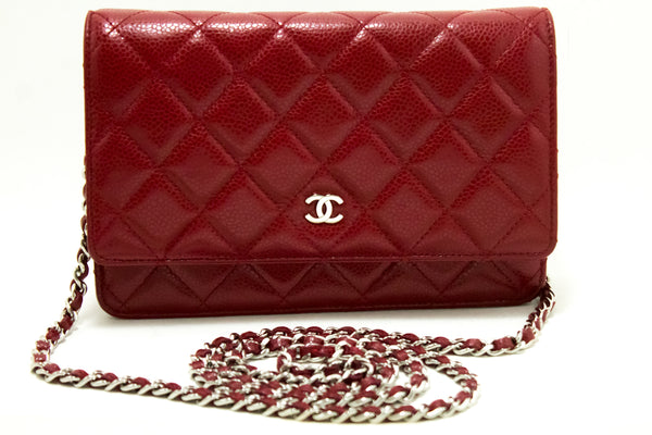 Chanel Red Caviar Leather Wallet On Chain Shoulder Bag  (SHB-10074)