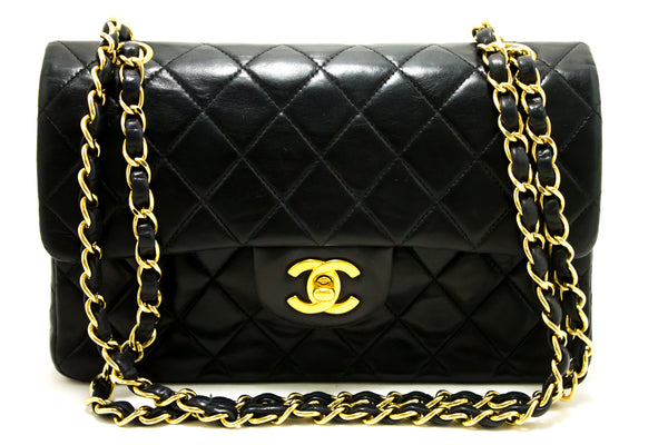 Chanel Black Quilted Lambskin Leather 2.55 Double Flap Chain Bag (SHB-10083)