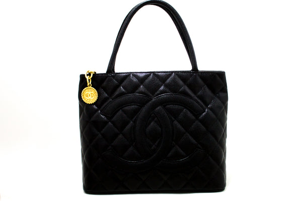 Chanel Black Quilted Caviar Medallion Tote (SHB-10134)