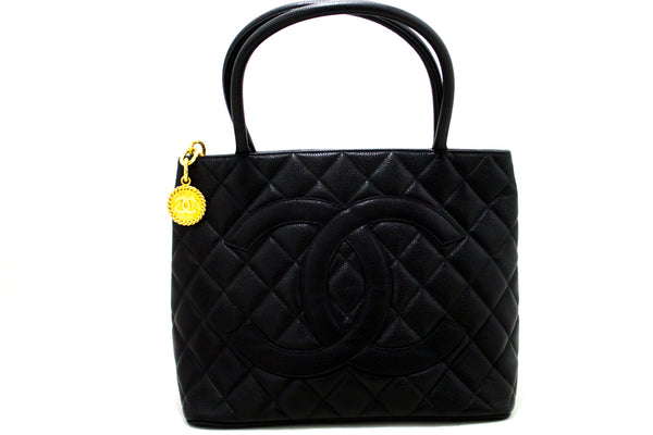 Chanel Black Quilted Caviar Medallion Tote (SHB-10135)