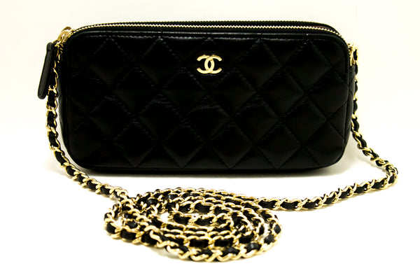 Chanel Black Quilted Lambskin Leather Wallet On Chain W Zip Chain Shoulder Bag (SHB-10081)
