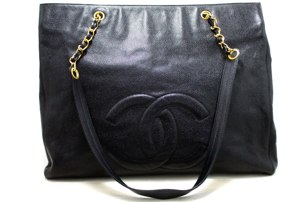Chanel Black Caviar Jumbo CC Chain Shoulder (SHB-10103)
