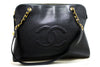 Chanel Black Caviar Leather CC Shoulder Bag Jumbo (SHB-10141)