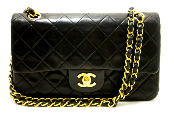 Chanel Black Quilted Lambskin Leather 2.55 Double Flap Chain Bag (SHB-10084)