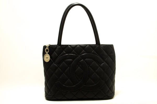 Chanel Black Quilted Caviar Medallion Tote (SHB-10044)
