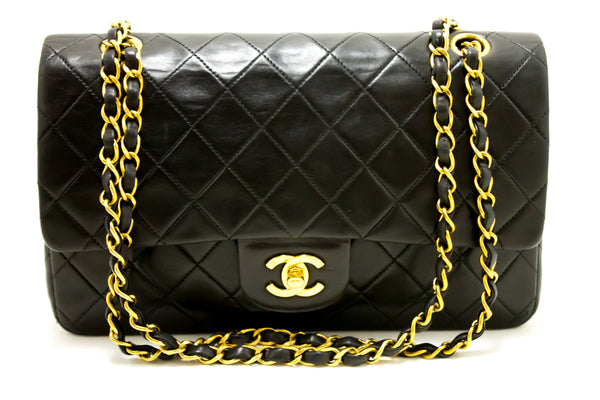 Chanel Black Quilted Lambskin Leather 2.55 Double Flap Chain Bag (SHB-10082)