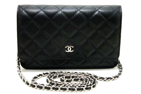 Chanel Black Quilted Caviar Leather Wallet On Chain Shoulder Bag (SHB-10147)