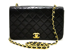 Chanel Black Quilted Lambskin Leather Single Flap Bag (SHB-10144)