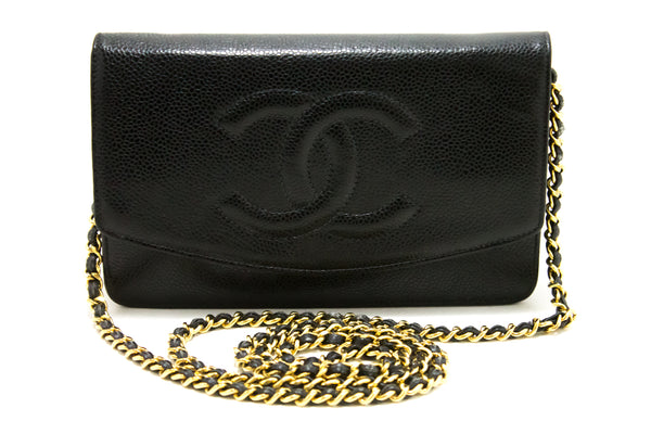 Chanel Black Caviar Leather Wallet On Chain WOC Bag (SHB-10166)