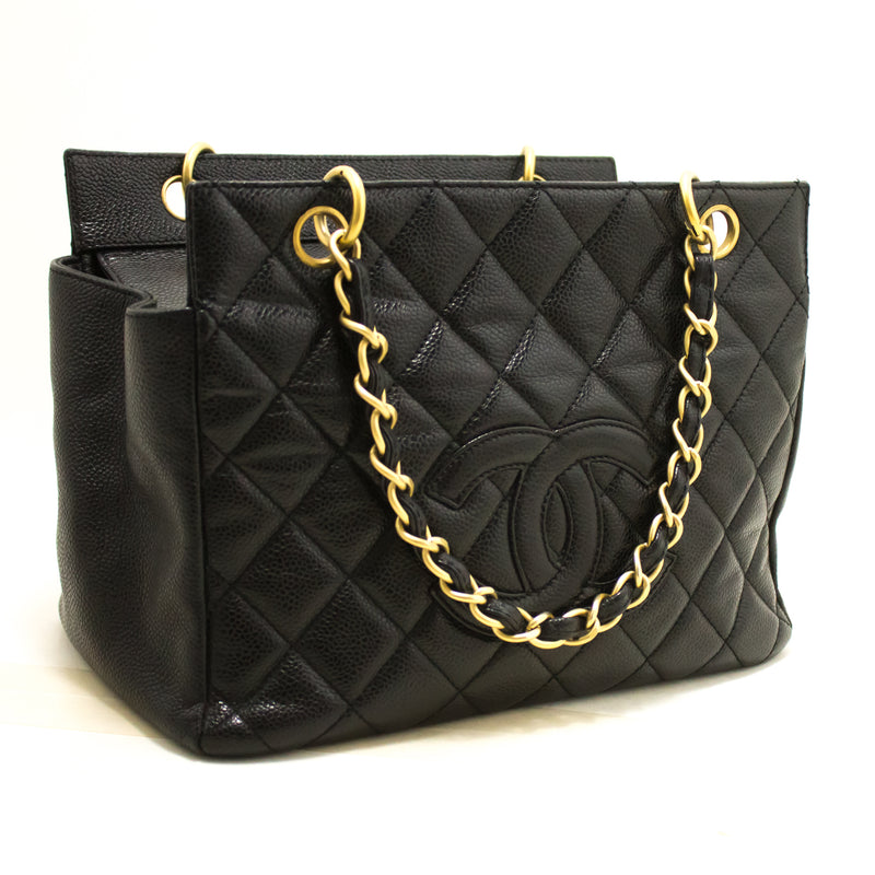 Chanel Black Quilted Caviar Chain Shopping Tote (SHB-10164)