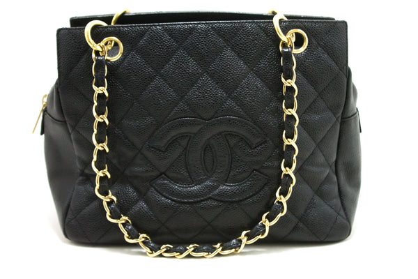Chanel Black Quilted Caviar Chain Shopping Tote (SHB-10165)