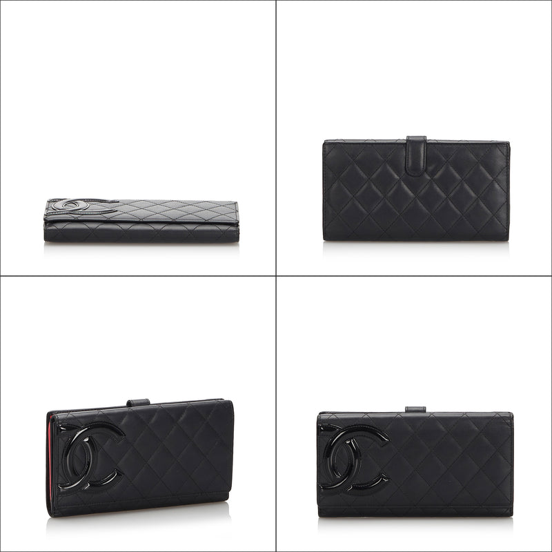 Pre-Loved Chanel Black Lambskin Leather Cambon Ligne Long Wallet France