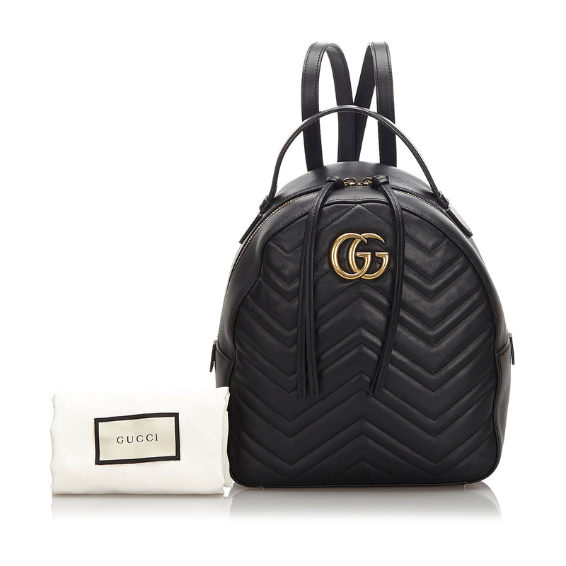 Pre-Loved Gucci Black Others Leather GG Marmont Backpack Italy