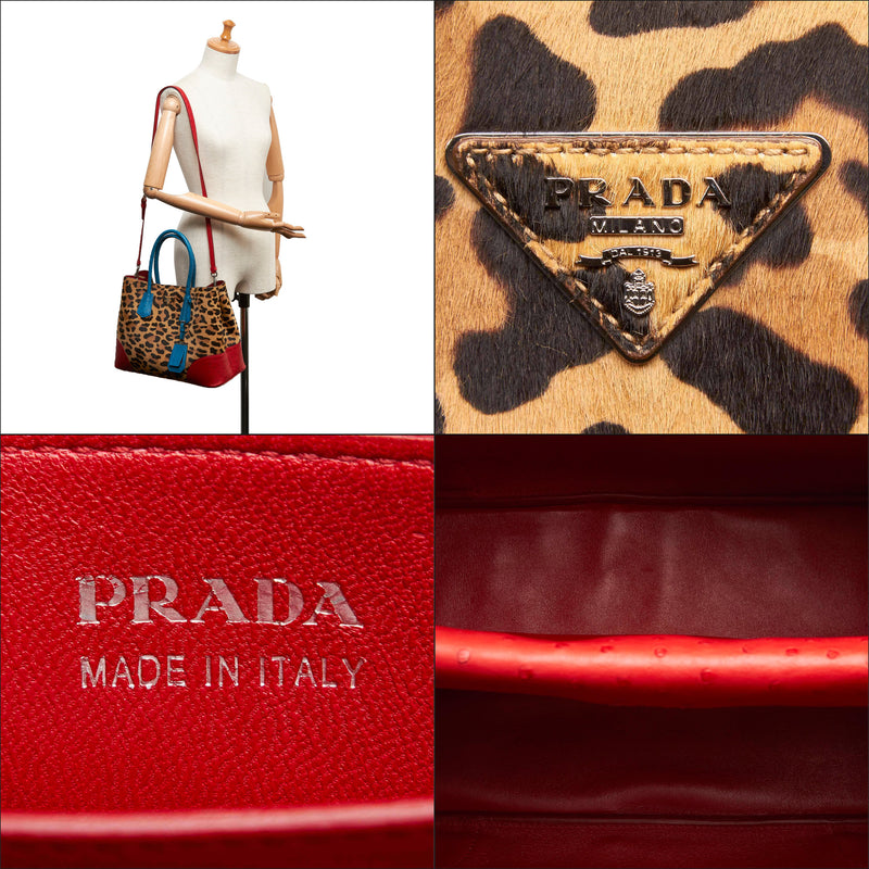 Pre-Loved Prada Brown Leopard Print Calf Hair Ostrich Double Tote Bag Italy