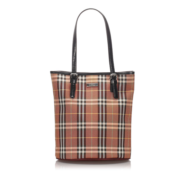 Pre-Loved Burberry Brown Canvas Fabric House Check Tote Bag United Kingdom