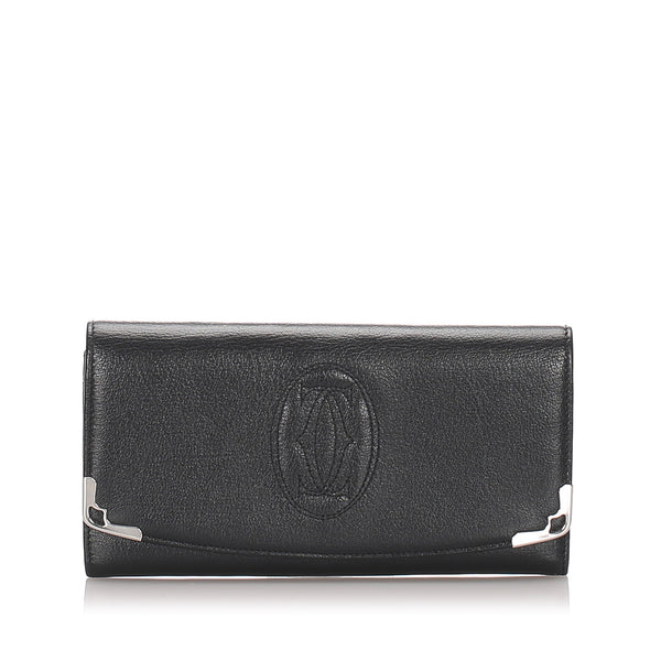 Pre-Loved Cartier Black Calf Leather Marcello International Wallet France