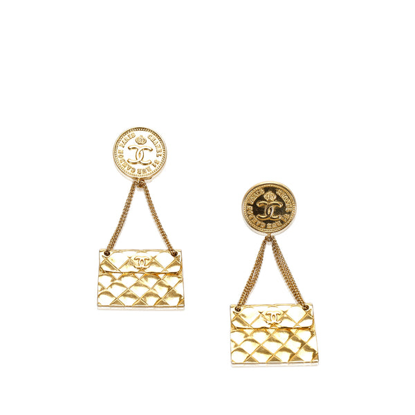 Pre-Loved Chanel Gold Others Metal Coin Purse Drop Earrings France
