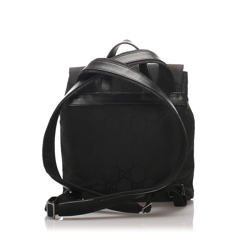 Pre-Loved Gucci Black Nylon Fabric GG Backpack Italy