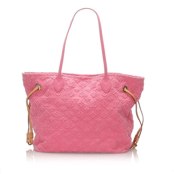 Pre-Loved Louis Vuitton Pink Denim Fabric Monogram Stone Neverfull MM France