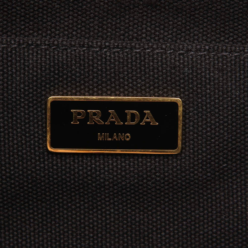 Pre-Loved Prada Black Canvas Fabric Canapa Satchel Italy
