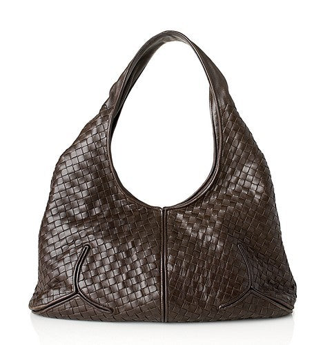 Bottega Veneta Intrecciato Nappa Ball Leather Handbag (Authentic Pre Owned)