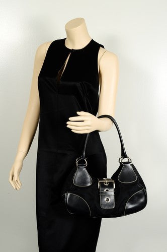 Prada Nylon Shoulder Leather Handbag (Authentic Pre Owned)