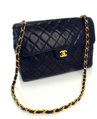Chanel Black Jumbo Leather Handbag (Authentic Pre Owned)