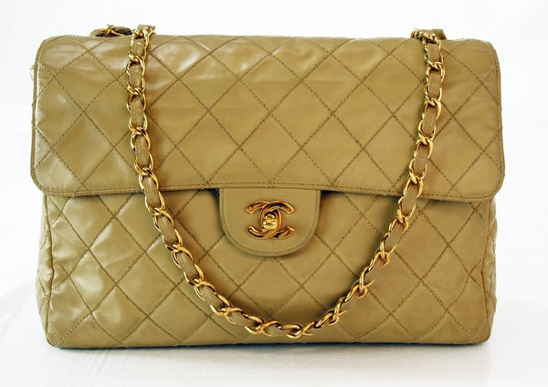 Chanel Jumbo Beige Flap Handbag (Authentic Pre Owned)