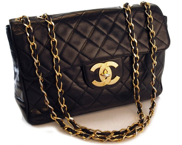 Chanel Jumbo Lambskin Leather Handbag (Authentic Pre Owned)
