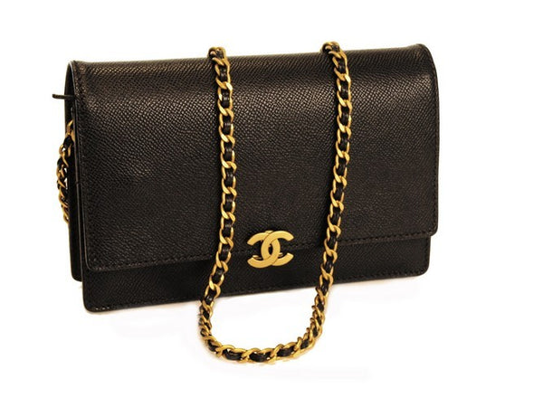Chanel Black Woc Leather Handbag (Authentic Pre Owned)