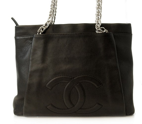Chanel Tote Black With SiLouis Vuittoner Chain Leather Handbag (Authentic Pre Owned)
