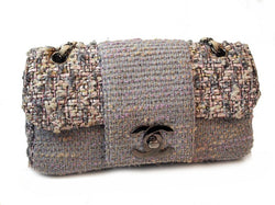 Chanel Pink And Grey Classic Tweed Flap Handbag (Authentic Pre Owned)