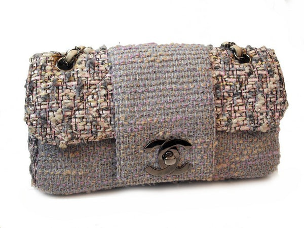3bf605c6f692 Chanel Pink And Grey Classic Tweed Flap Handbag (Authentic Pre Owned ...