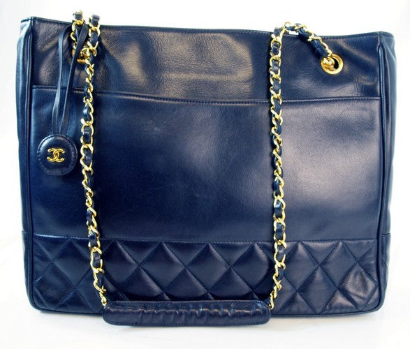 Chanel Vintage Navy Chanel Lambskin Tote Leather Handbag (Authentic Pre Owned)