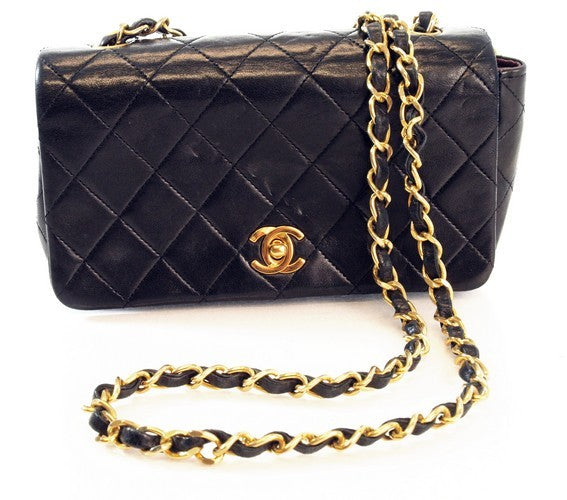 Chanel Mini Lambskin Classic 2.55 Flap Leather Handbag (Authentic Pre Owned)