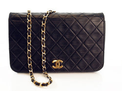 Chanel Vintage Black Lambskn Classic Flap Leather Handbag (Authentic Pre Owned)