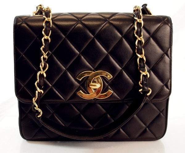 Chanel Vintage Black Lambksin Large Flap Leather Handbag (Authentic Pre Owned)