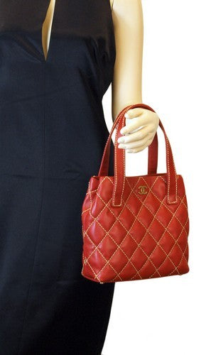 Chanel Surpique Tote Red Leather Handbag (Authentic Pre Owned)