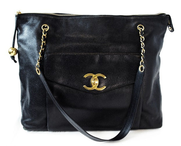 Chanel Vintage Caviar Jumbo Leather Handbag (Authentic Pre Owned)