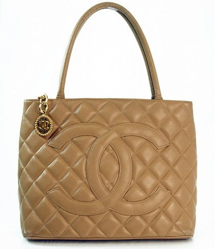 Chanel Beige Caviar Medallion Leather Handbag (Authentic Pre Owned)