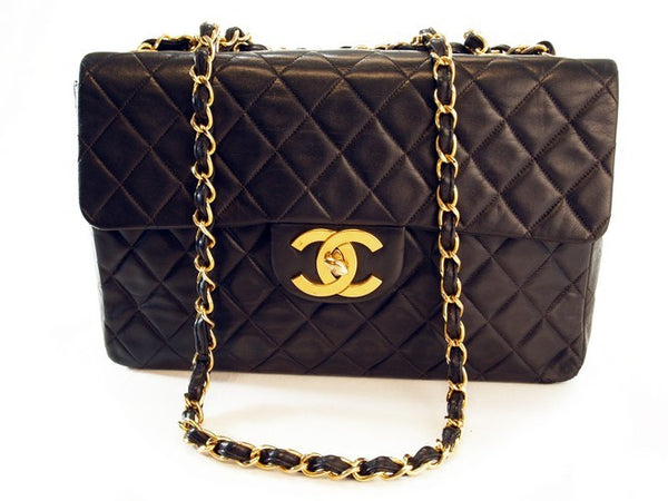 Chanel Black Lambskin Quilted Xl Jumbo Leather Handbag (Authentic Pre Owned)